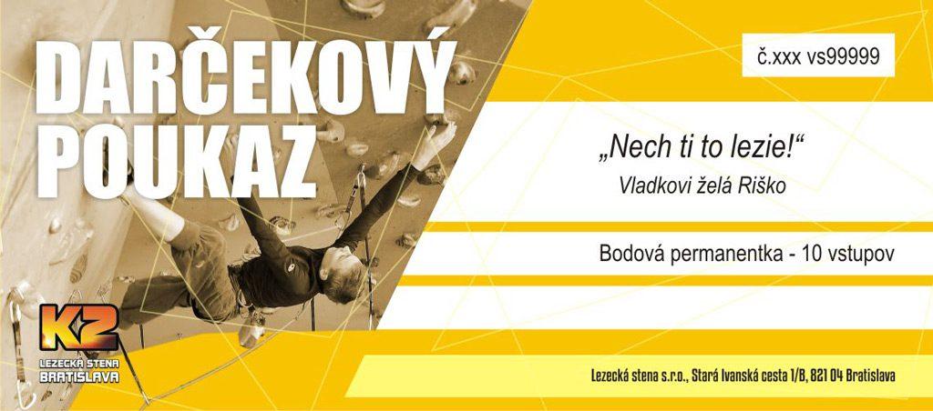 Darčekový poukaz | Lezecká stena K2 - Bratislava